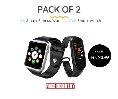 Pack of 2 - M4 Smart Fitness Watch and W08 Smart Watch - Paksa Pk