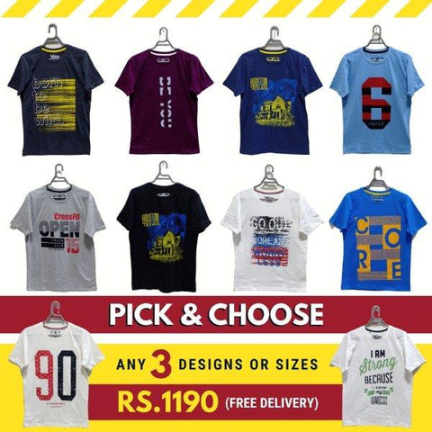 Pick & Choose - Pack Of 3 Printed Original T-Shirts For Men - Paksa Pk
