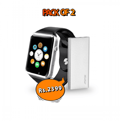 Power Deal - W08 Smartwatch + Apsor A373 Power Bank - Paksa Pk
