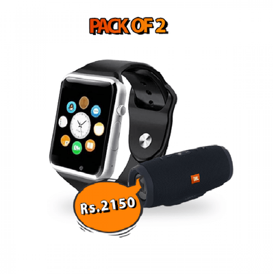 Music Deal - W08 Smartwatch + JBL Charge 3+ Bluetooth Speaker - Paksa Pk