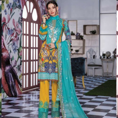 Tehzeeb Delicate Embroidered Lawn 3 Piece Unstitched TH021A9 - Paksa Pk