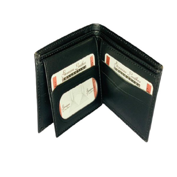 Black Bi-Fold Multi Pockets Leather Wallet/Purse for Men