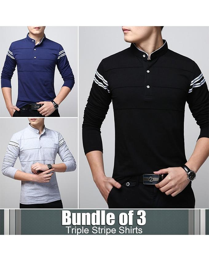 Pack of 3 Triple Stripe Pullover-shirts For Men