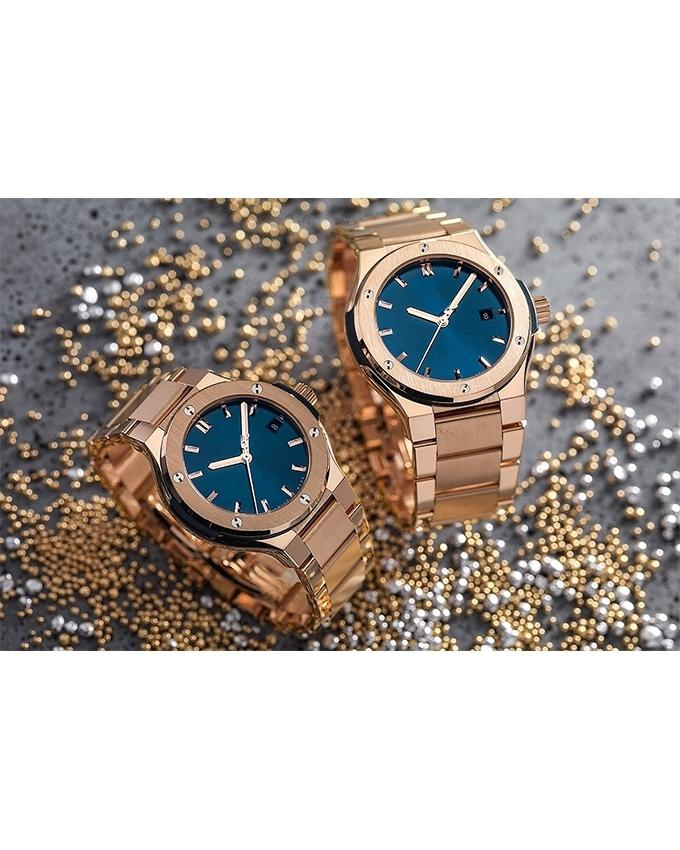 Bundle of 2 Golden Stainless Steel Watches For Couple - Paksa Pk