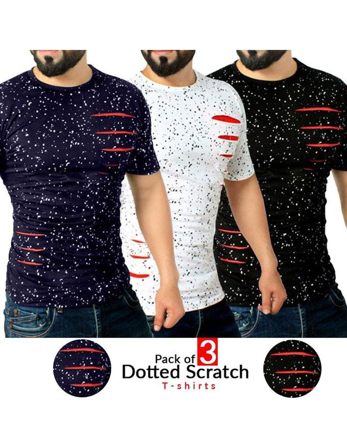 Pack Of 3 - Dotted Scratch T-Shirt For Men - Paksa Pk