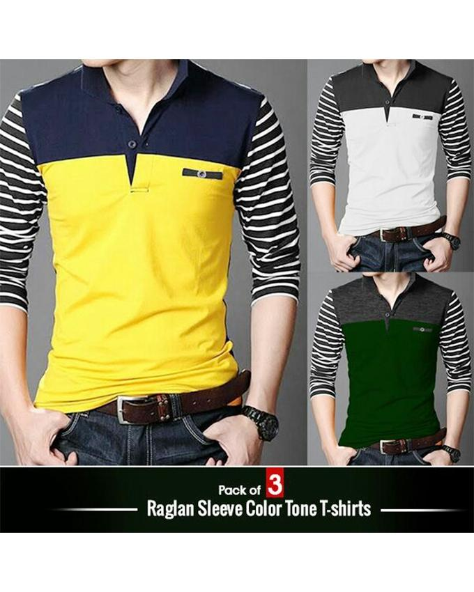 Pack Of 3 Raglan Sleeves Color Tone Polo Shirts For Men