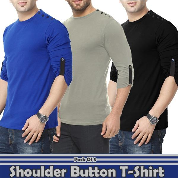 Pack of 3 Shoulder Button Designer T-Shirt For Men - Paksa Pk