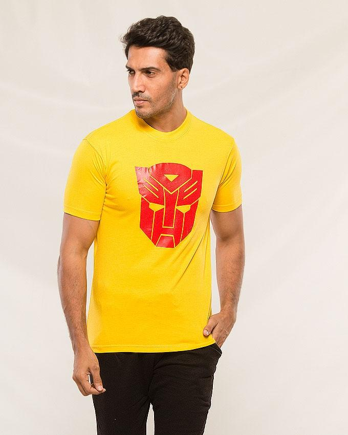 Yellow Transformar Printed T shirt For Men - Paksa Pk