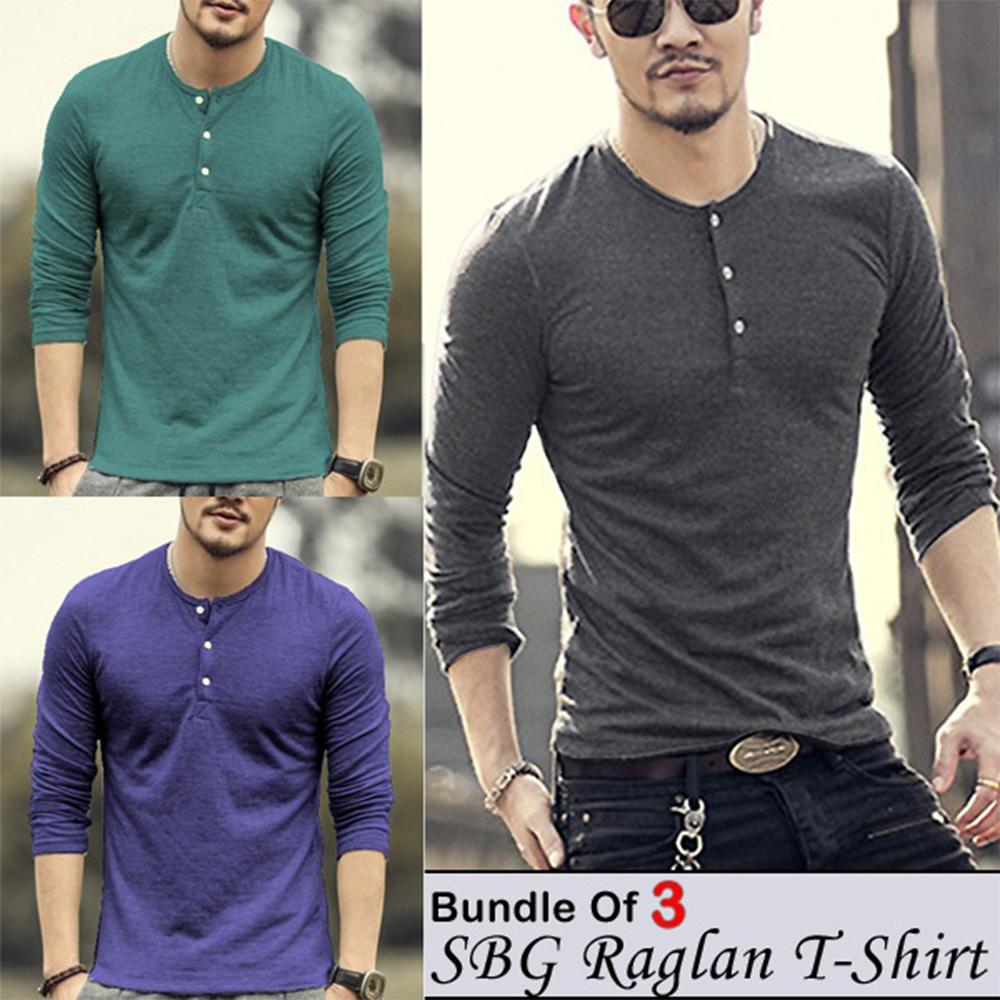 Pack of 3 Full Sleeves 3 Button Stylish T-shirts For Men - Paksa Pk
