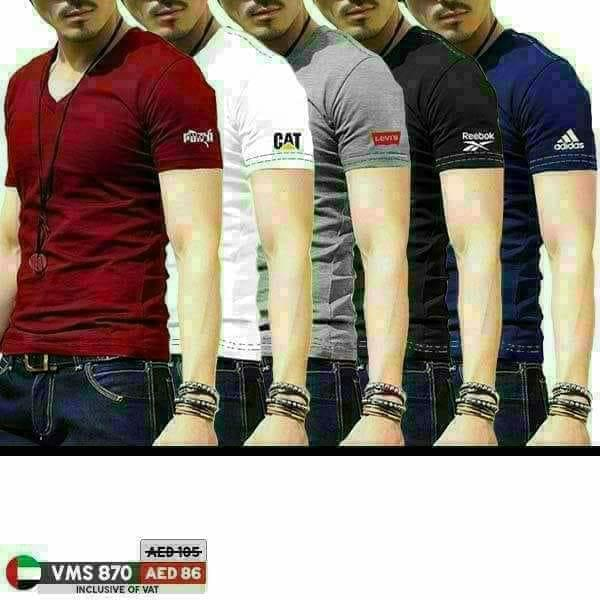 Pack of 5 Multicolor Logo Sleeves T Shirt For  Men - Paksa Pk