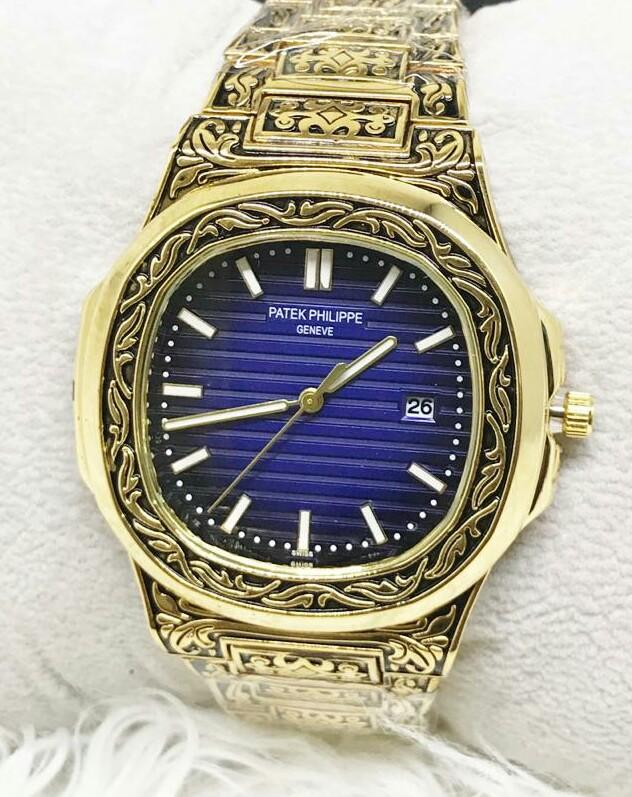 Golden Texture Style Gents Watches With Date - Paksa Pk