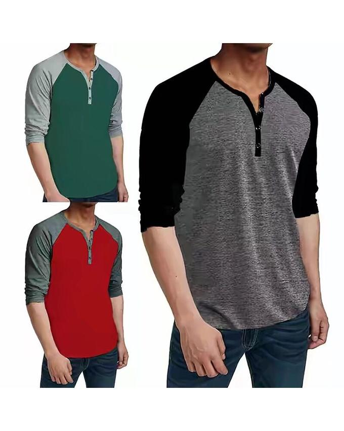 Pack Of 3 - Y Neck Button Strip T-Shirts For Men - Paksa Pk
