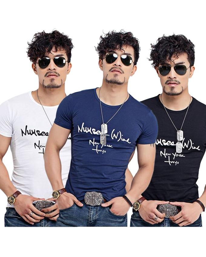 Pack Of 3 Round Neck Printed T-Shirts For Men