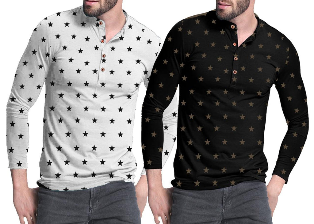 Pack of 2 Star Printed T-Shirt For Men - Paksa Pk