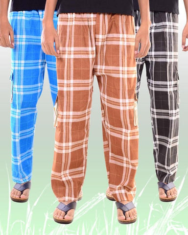 Pack of 3 - Multicolor Cotton Trousers For Men