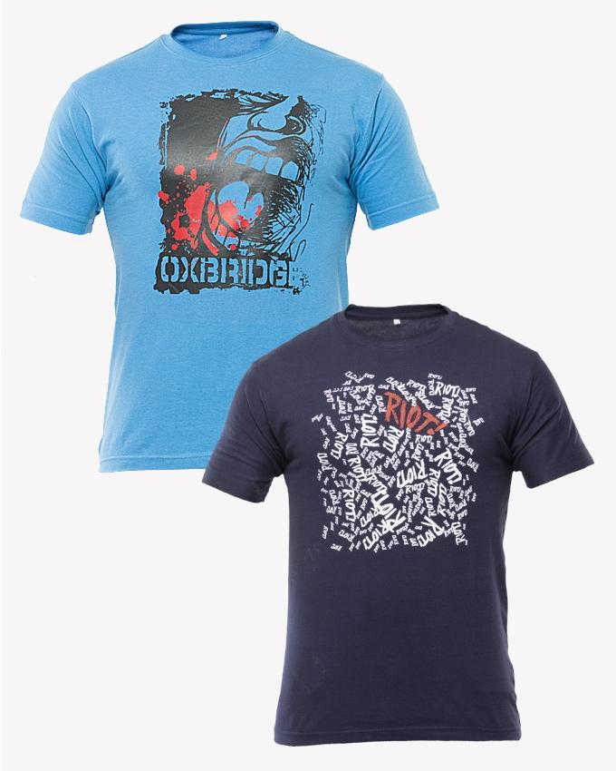 Sky Blue & Solid Navy Blue Cotton Pack Of 2 Printed T Shirt For Men - Paksa Pk