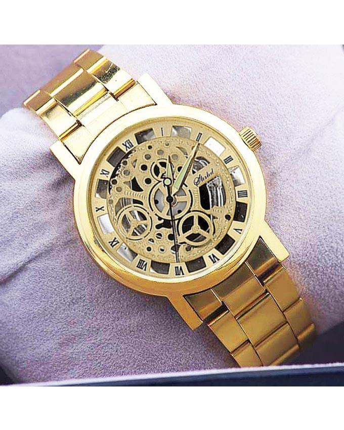 Golden Skeleton Analog Watch For Men - Paksa Pk