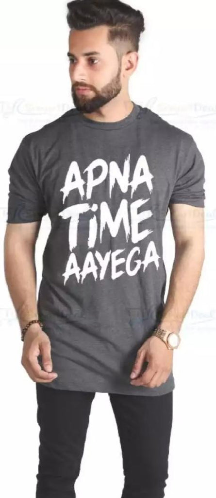 Grey Apna Time AAyega Cotton Printed T-shirt For Men