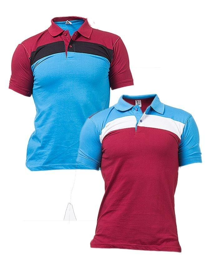 Pack of 2 - Maroon & Sky Blue Cotton Polo Shirts For Men - Paksa Pk