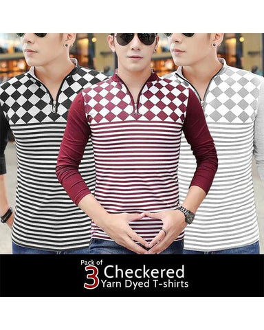 Pack of 3 Checkered Zipper T-shirts For Men