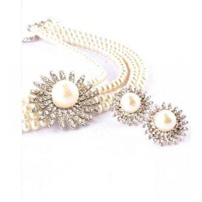 White Jewelry Set with Center Silver Flower Stone - Paksa Pk