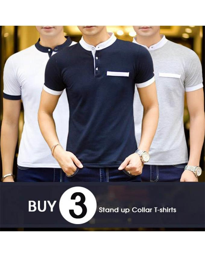Pack of 3 Stand up Collar With Pocket T-shirts For Men