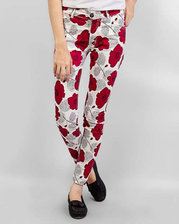 White Cotton Flower Printed Jeans For Women