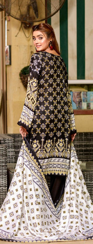 Al Dawood Three Star Original Lawn Black And White Collection 05 - Paksa Pk