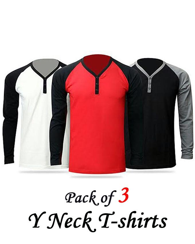 PACK OF 3 Y-NECK T-SHIRTS FOR MEN - Paksa Pk