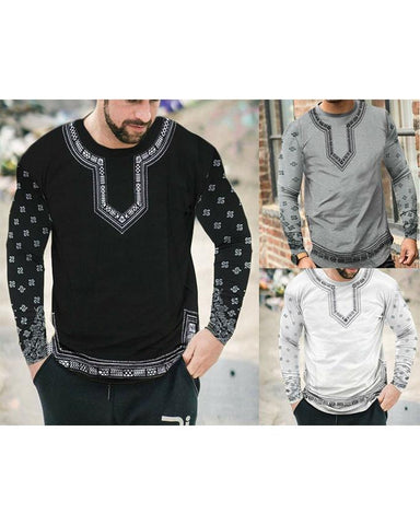 Pack of 3 Sleeves Printed Round Neck T-shirts For Men