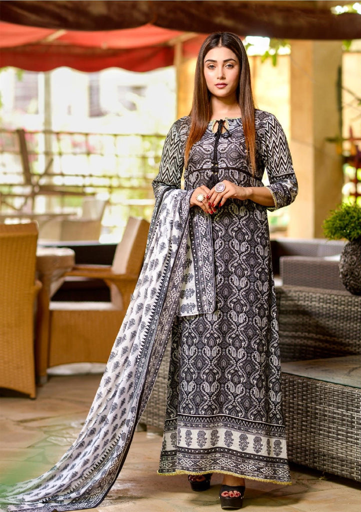 Al Dawood Three Star Orignal Lawn Black And White Collection 07 - Paksa Pk