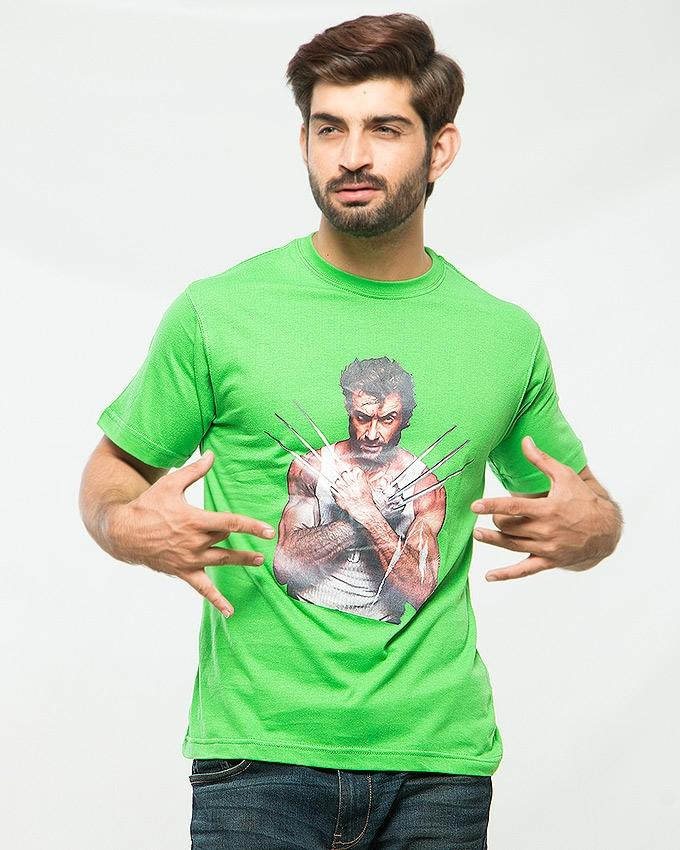 Green Color Cotton Printed T-shirt For Men