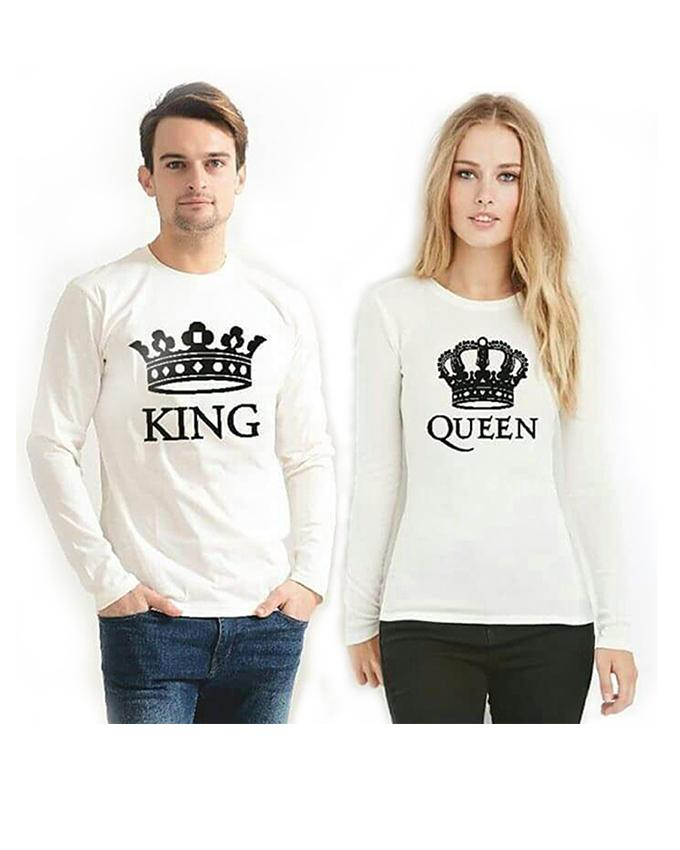 Pack Of 2 Full Sleeves Round Neck  King Queen Print T-Shirts For Couple - Paksa Pk