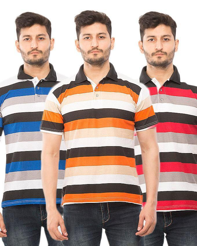 Pack Of 3 Lining With Half Sleeves Polo Shirts For Men - Paksa Pk