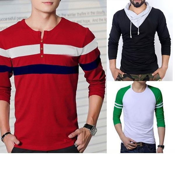 Pack Of 3 Multi Color With Multi Design T Shirts For Men - Paksa Pk