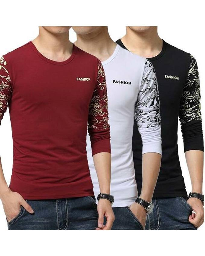 Pack Of 3 Sleeves Printed Front Logo T-Shirt For Men