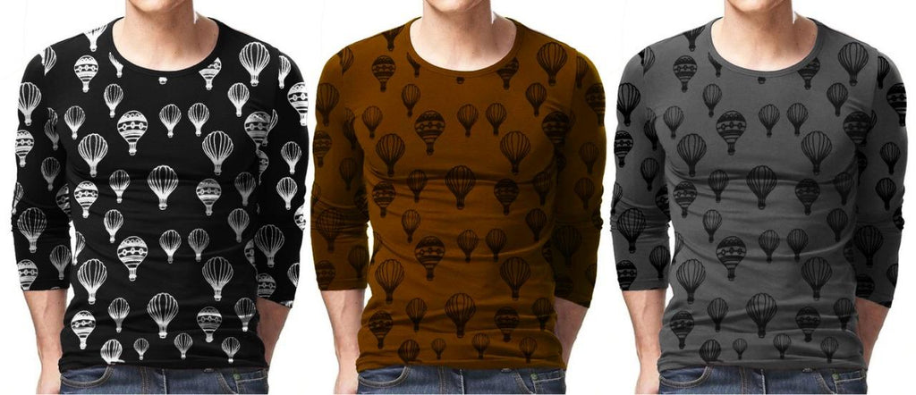 Pack of 3 Air Balloon Print T-Shirt For Men