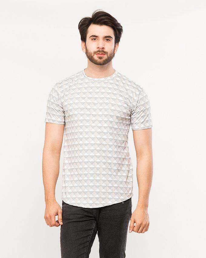 Checkered Round Neck T-shirt For Men