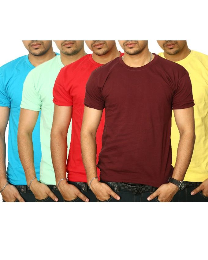 Pack Of 4 Multicolor Cotton Round Neck T-Shirt For Men - Paksa Pk