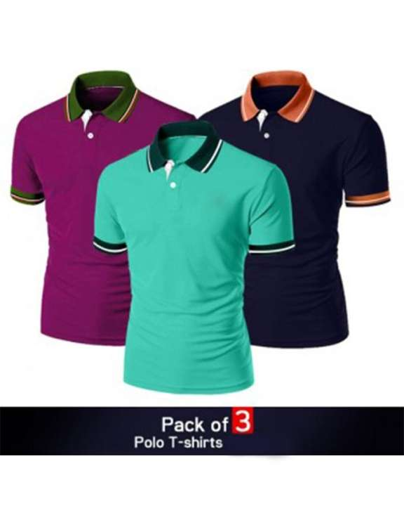 Pack of 3 Half Sleeves Polo T-shirts For Men