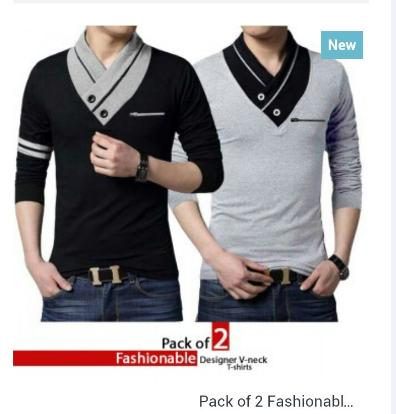 Pack Of 2 Fashionable Mock Neck 2 Button Style T-Shirts - Paksa Pk