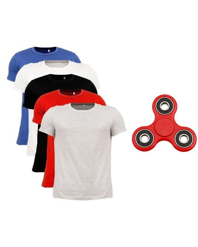 Pack Of 5 Casual Wear Round T Shirts With Fidget Spinner Stress Reducer Toy