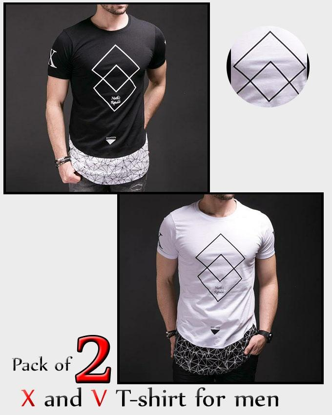 Pack of 2 X and V T-shirt For Men