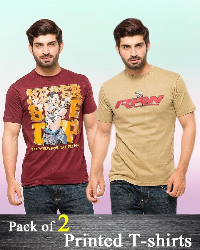 Pack Of 2 Printed T-Shirt For Men - ABZ-2318 - Paksa Pk