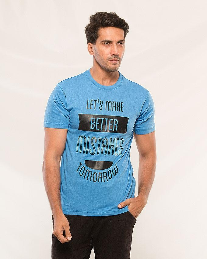Blue Let's make Better Mistakes Tomorrow Printed T-shirt For Men - Paksa Pk
