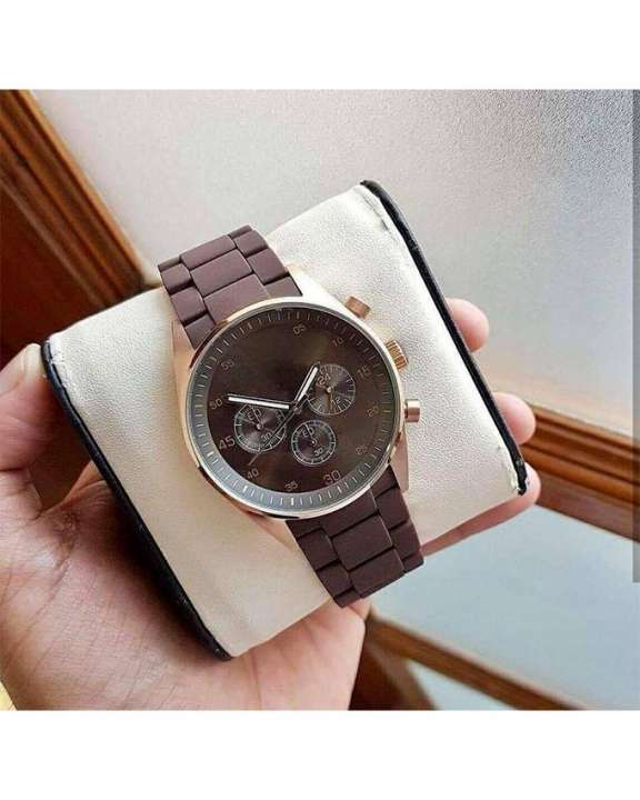 Brown Stainless Steel Watch For Men