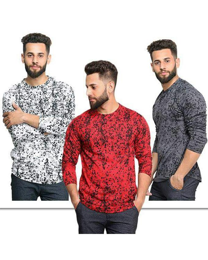 Pack of 3 Texture Long Sleeves T-shirts For Men