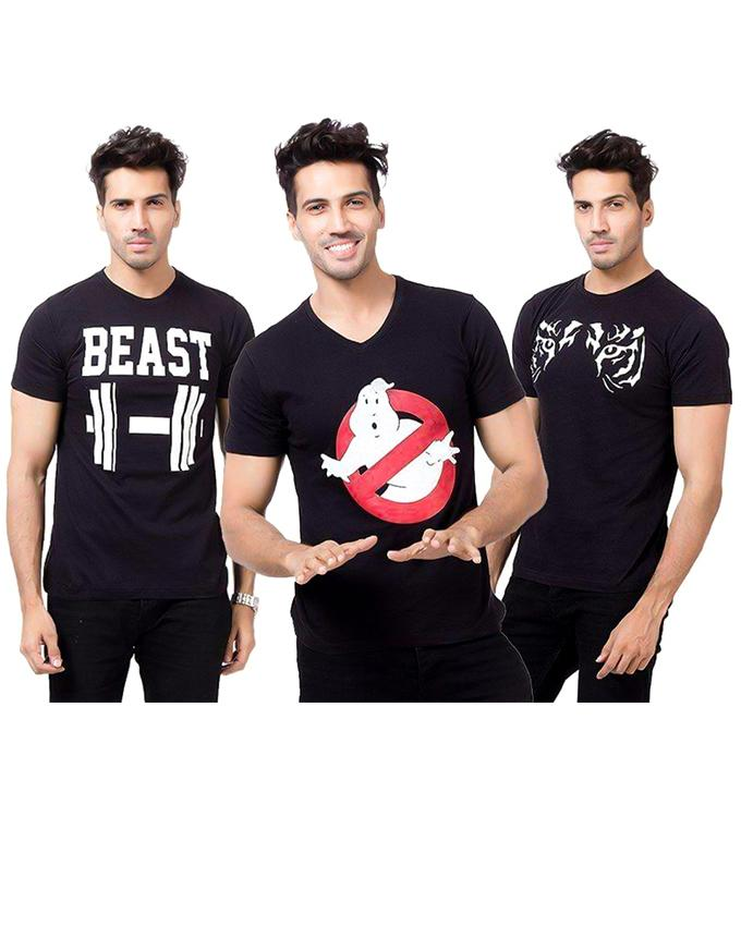 Pack Of 3 Round Neck Black Printed T-Shirt For Men