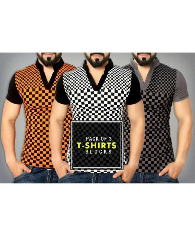 Pack Of 3 v-Neck Checkered T-Shirt For Men