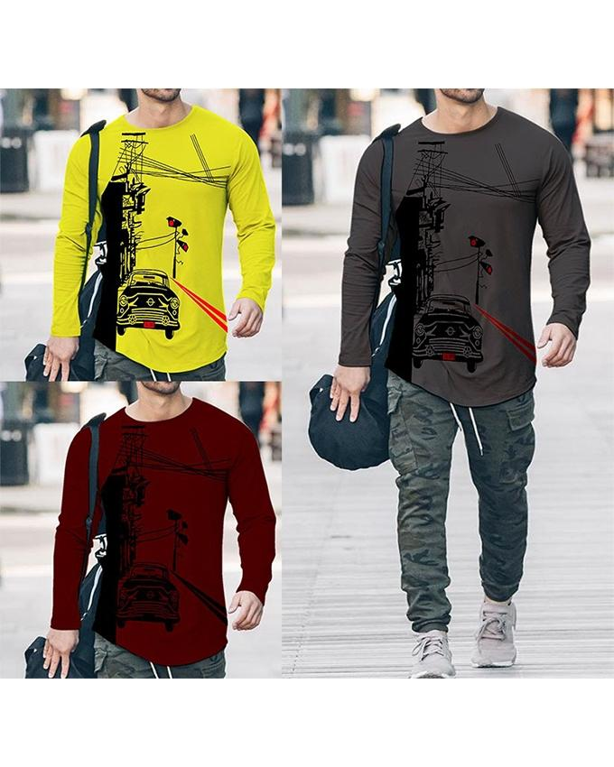 Pack of 3 Round Neck Long Sleeves Printed T-shirts For Men - ABZ-5752 - Paksa Pk